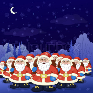 Christmas cartoon: Santa Claus army in a night winter forest