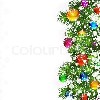 Julen baggrund med dekoreret grene af juletræ