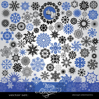 77 items - Christmas and New Year creative snowflakes and stars set,  horizontal blue winter banner, vintage and retro ornaments and text,  for decoration and design