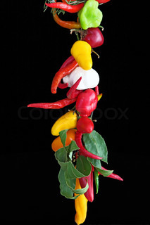 The hanging peppers and garlic decoration