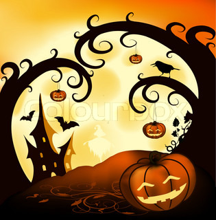 Halloween illustration background with trees, pumpkins, castle full moon and crow
