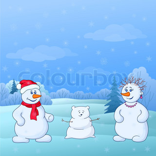 Cartoon, snowmens man and a woman make a snow baby in winter forest