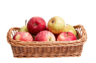Juicy apples and pears in the basket isolated on a white background