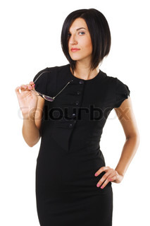 Portrait of an elegant businesswoman against white background