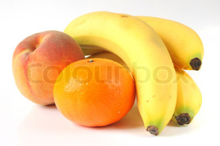 Fruit isolated Bananas, Orange, Peach