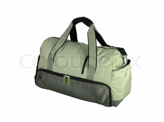 Green Duffel Bag isolated on white background
