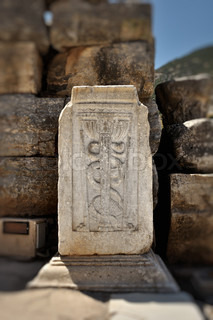 This photograph represent a the Caduceus, universal symbol of medicine inruins of Ephesus,Turkey