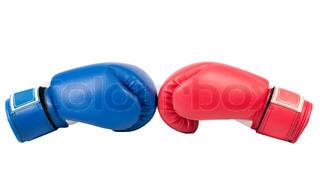 Boxhandschuhe auf einem weißen Hintergrund close up