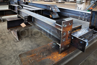 new welded metal beams on modern plant