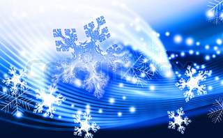 blue winter abstract background with snowflakes
