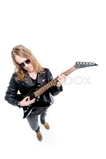 Handsome Rocker In Sunglasses Posing Playing Electric Guitar Isolated On White Player Concept