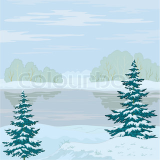 Vector, winter landscape: snow-covered forest, frozen river and the blue sky with white clouds