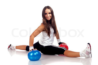 fitness lady isolated on a white background