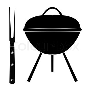 barbecue grill with large fork on a white