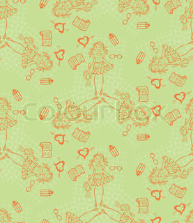 Baby girl green vector cartoon seamless pattern. Glamour background.  Endless texture for textile.