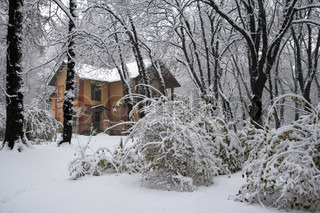 detached house in winter snow covered city park (dull day)