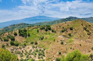 sicilian landscape - view on Etna in summer day
