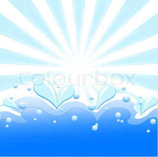 Vector illustration of summer background with sun rays, waves and water drops.