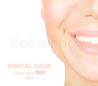 Perfect smile with white healthy teeth, closeup on beautiful female face, dental care concept