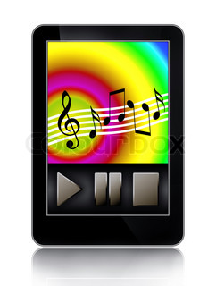 Mp3 music player on touch screen of modern multimedia gadget
