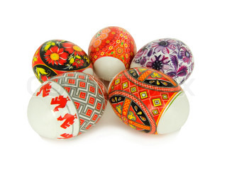 Easter eggs decorated with the Ukrainian national figure on a white background