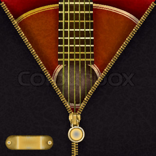 abstract music red background with guitar and open zipper
