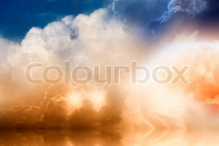 Fantastic background - bright rainbow and two stars in cloudy sky with reflrction in ocean
