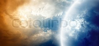 Dramatic background - impressive sky with bright and dark clouds