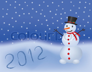 new year 2012 vector background with snowman