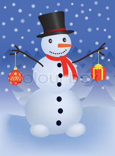 snowman with christmas ball and gift