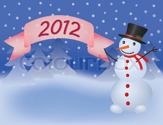 snowman with banner scroll 2012