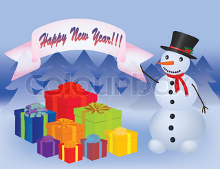 snowman near a heap of new year presents vector illustration