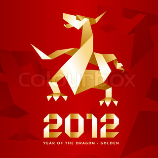 Origami Dragon, 2012 Year - Red&Gold, vector