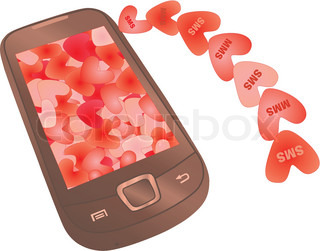 love messaging: sms and mms hearts flying to mobile
