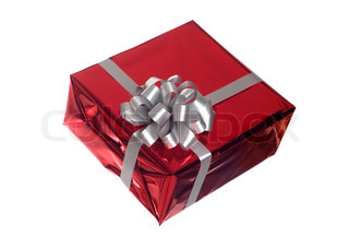 isolated gift with grey bow