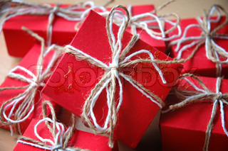 Gifts - Red gifts with a white ribbon