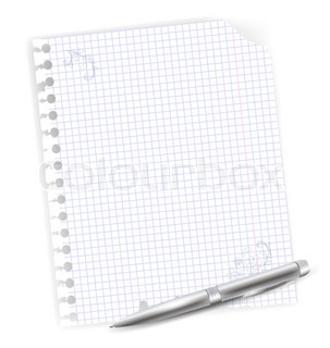 illustration of notebook sheet with drawing and metal ballpoint pen