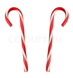 lollipop canes isolated on white close up
