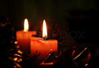 Two red candles - Christmas decorations