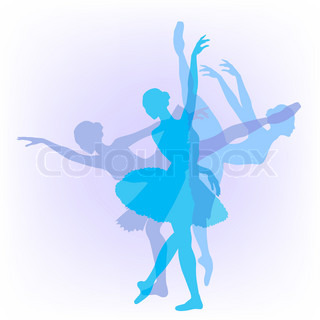 Three silhouettes of the ballerina in pastel tones
