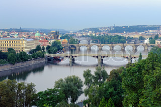 View on Prague Bridges at sunrise
