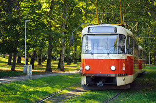 Old red tram in Prague