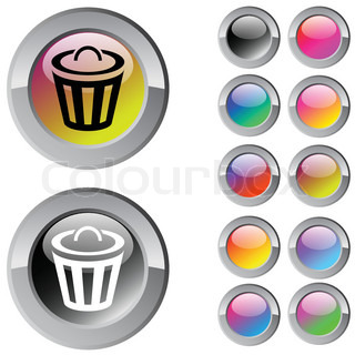 Dustbin multicolor glossy round web buttons
