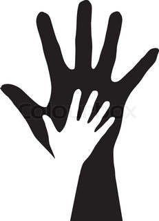 Hands silhouette Illustration on white background