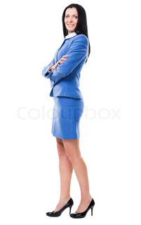 Portrait of a lovely businesswoman in elegant suit against white background