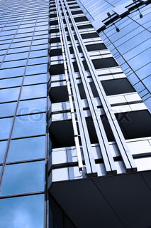 Wall of business center and sky reflection, may be used as background