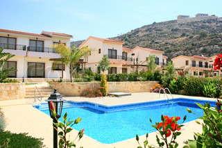 Houses and swimming pool in residential area