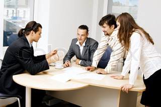 Business team having a discussion in office