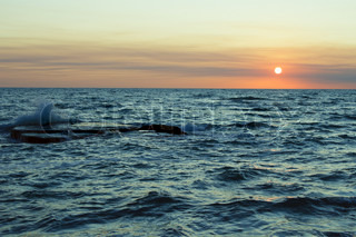 Sunset at the Caspian Sea in August