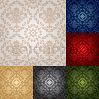 Seamless wallpaper pattern floral, gray, blue, green, brown, bronze, red